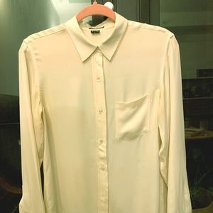 Theory silk blouse with pocket